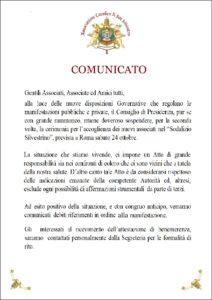 RINVIO DELLA CERIMONIA ASSOCIATIVA IN PROGRAMMA SABATO 24 OTTOBRE