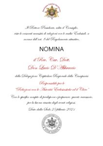 """Read more about the article Nomina Responsabile per i """"Rapporti con Enti Ecclesiastici e Clero"""""""