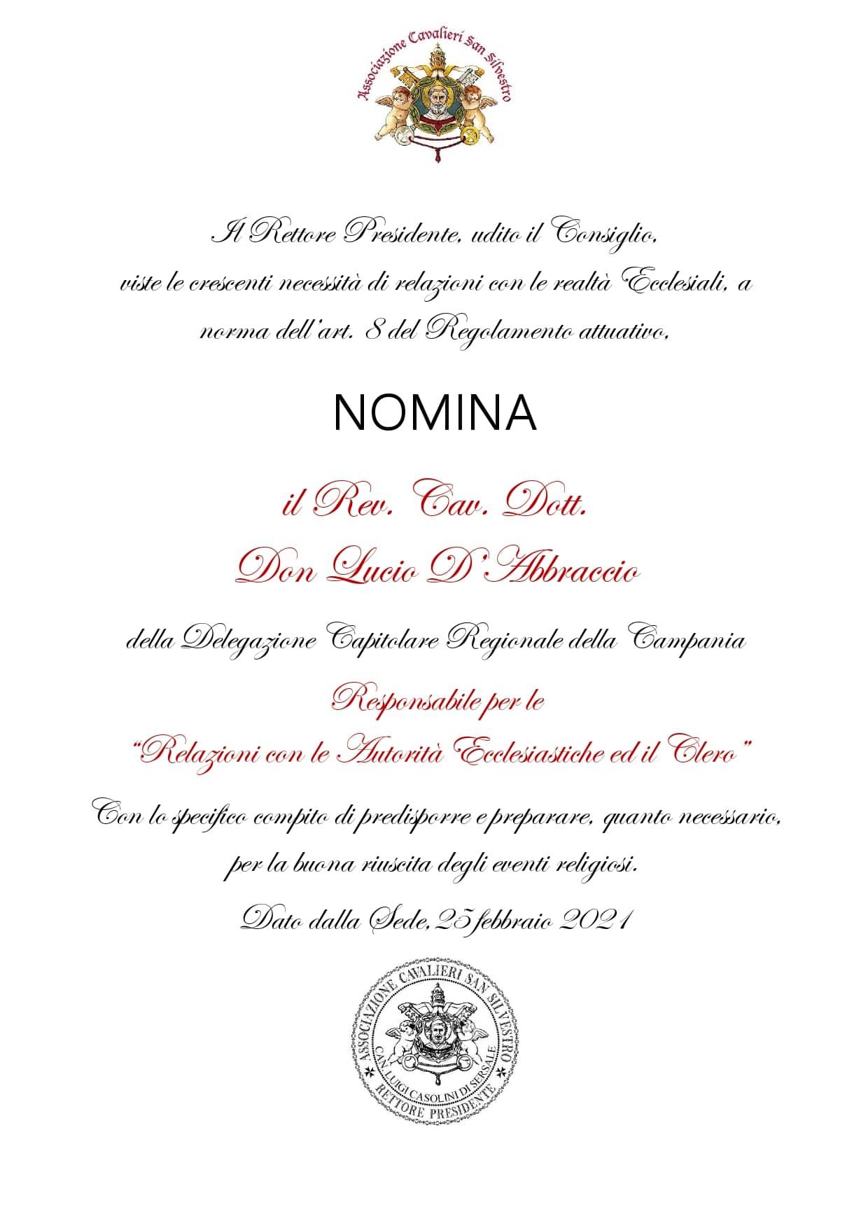 """Nomina Responsabile per i """"Rapporti con Enti Ecclesiastici e Clero"""""""
