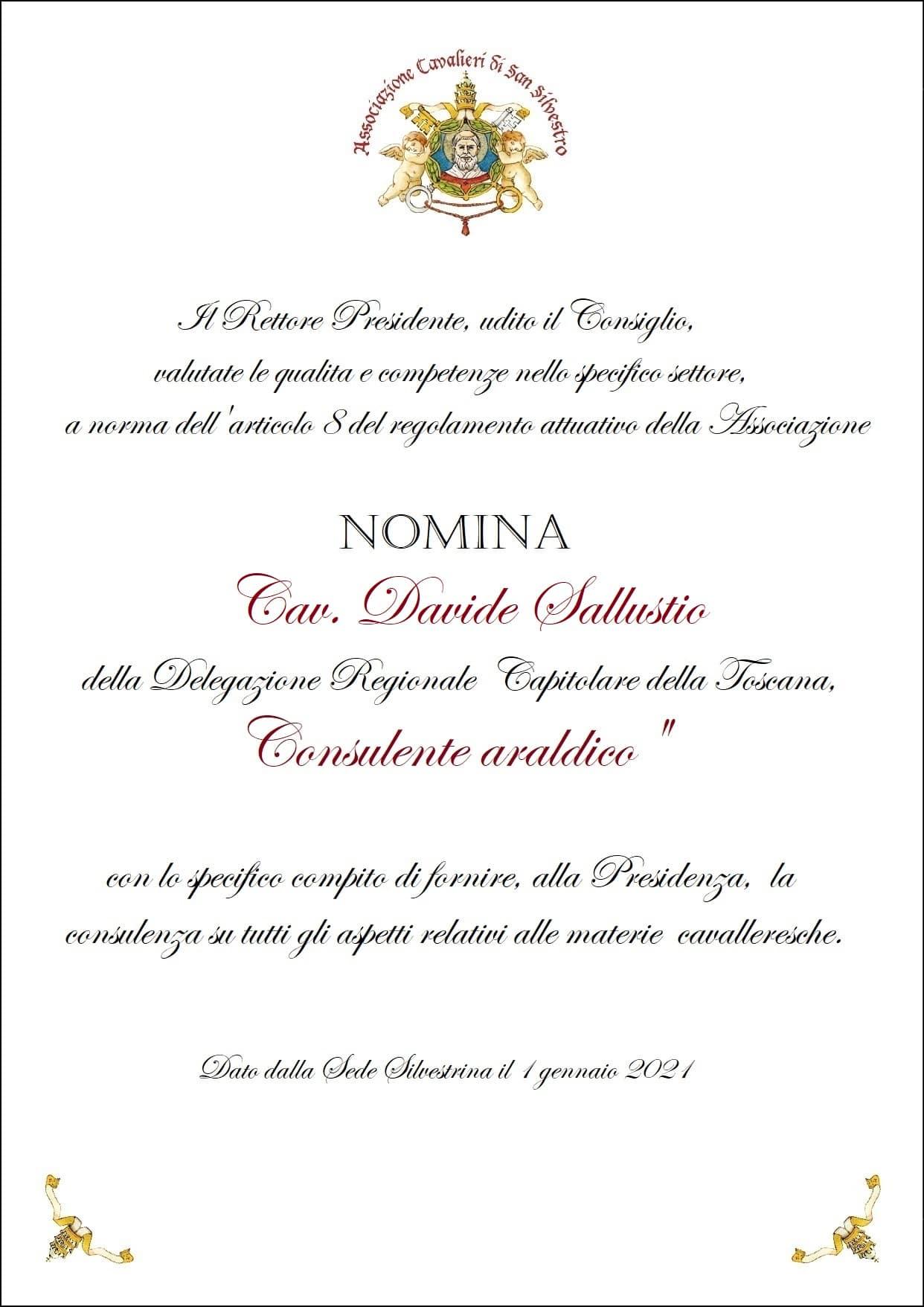 You are currently viewing Nomina Consulente Araldico