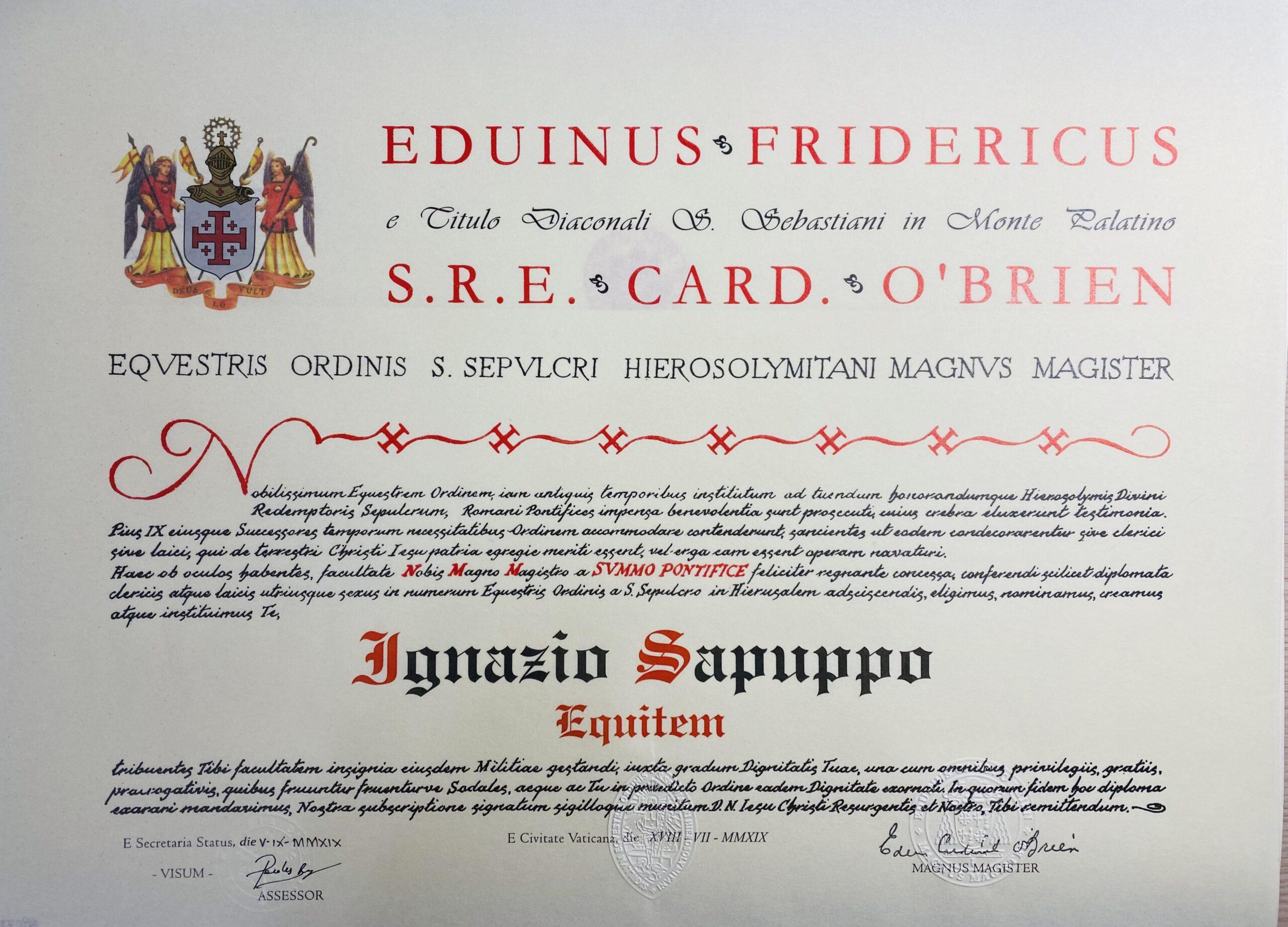 You are currently viewing Cav. Ten. Col. Dott. Ignazio SAPUPPO