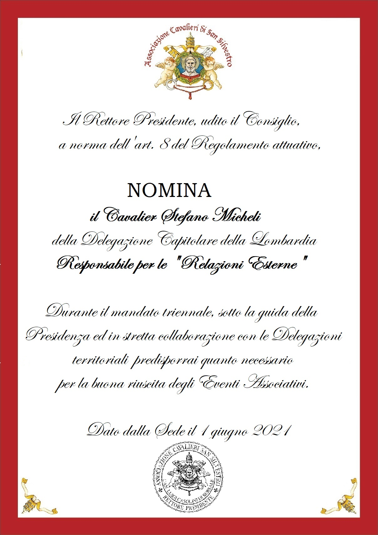 "You are currently viewing Nomina del Responsabile ""Relazioni Esterne"""